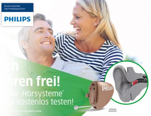 Endlich die Ohren frei! Philips Im-Ohr-Hörsysteme.